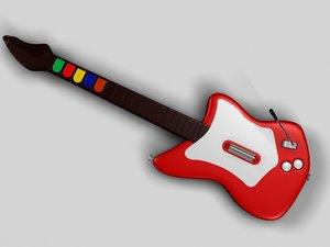 realistic guitar hero red rock 3d model