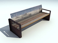 bench realtime polygons 3d model