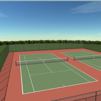 doubles tennis court s 3d model