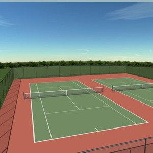 doubles tennis court s 3d model