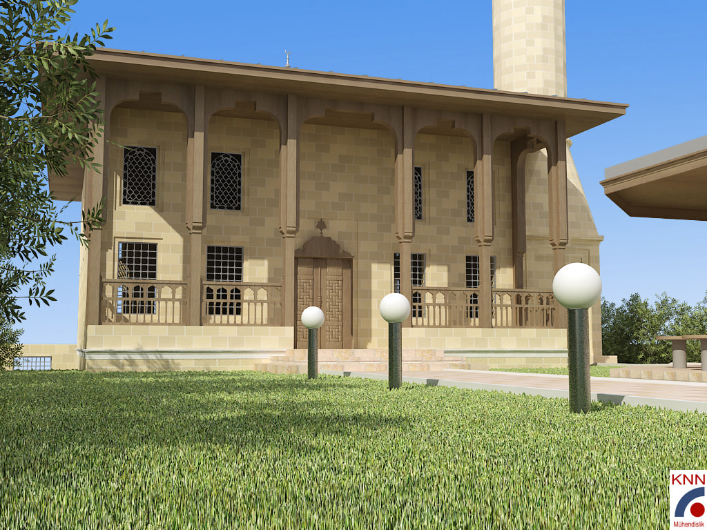 3d mosque windows trees model