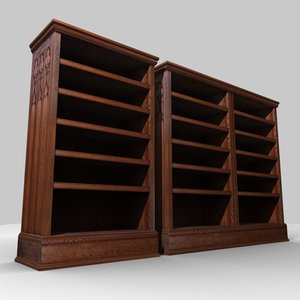 3d model gothic medieval bookcases case