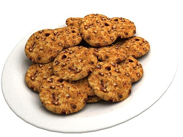 3d model cookies plate chocolate