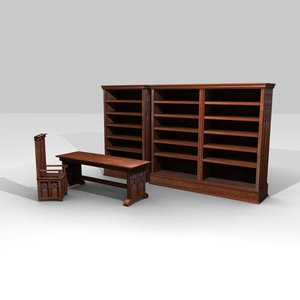 medieval library set bookcases blend