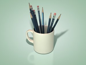 3ds max coffee mug pencils