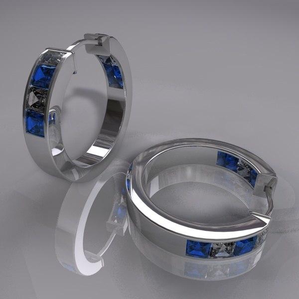 3d gem earings model