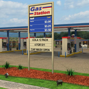 3d gas station convenience store model
