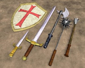 6-pc crusader weapons 3d model