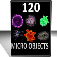 120 micro objects cells 3d model