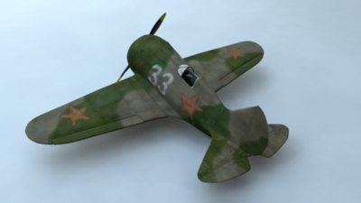 polikarpov i-16 ww2 plane 3d model