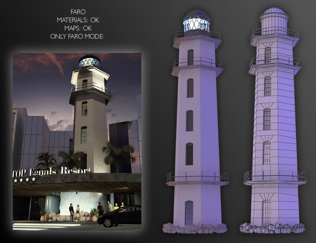 lighthouse house light 3d model