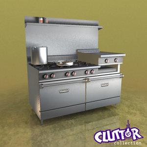 commercial range oven 3d 3ds