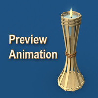 3D Small Tiki Torch Model