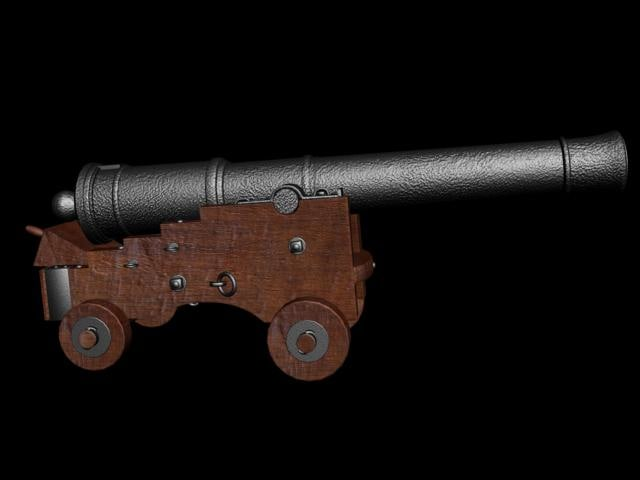 english naval cannon 3d model