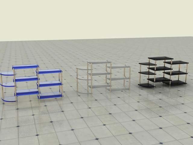 3d model shelf 6 materials
