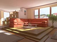complete scene living room interior 3d max