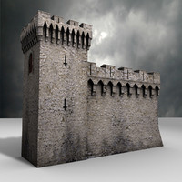Medieval Castle tower and wall 3d model