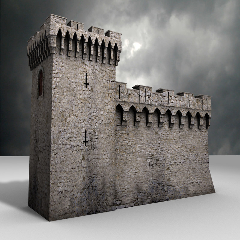 medieval tower wall castle 3d model