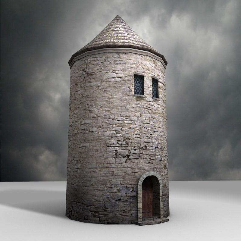 3d medieval drum tower model