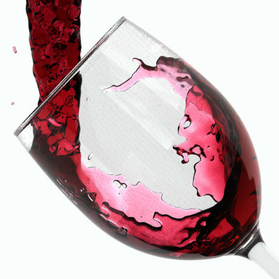 3d model red wine pouring glass liquid