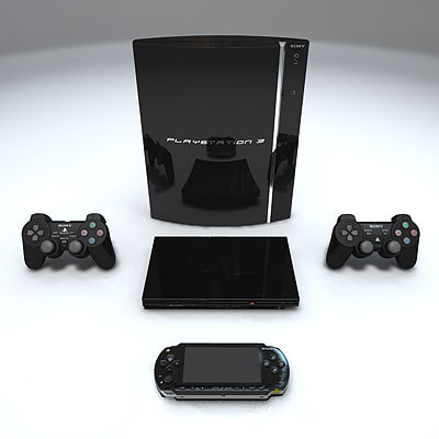 3d model 2007 playstation 2 console