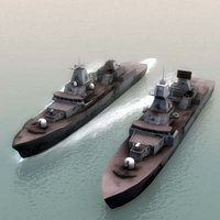 damaged navy ships 3d model