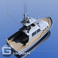 3d model sportfishing boat