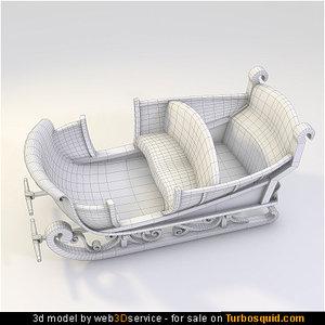 3d santa sledge model