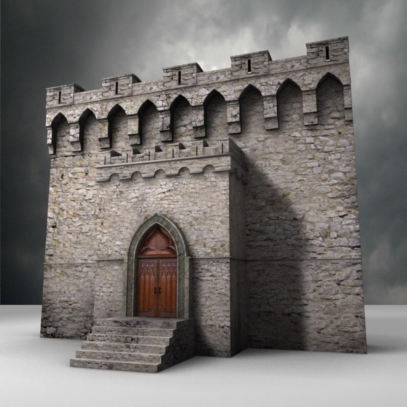 castle walls 3d model