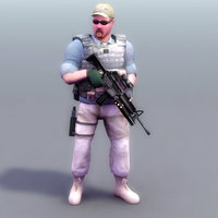 3d model military rigged