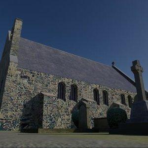 church graveyard building 3d model