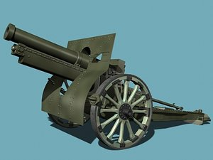 3dsmax french howitzer m1917a1