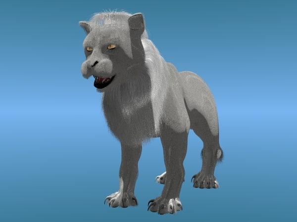 3d white lion