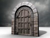 Medieval Arched Door 3d model