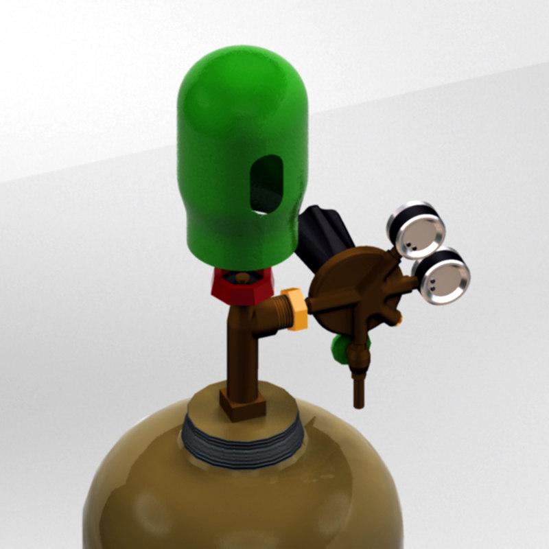 pressure cylinder regulator gas 3d model