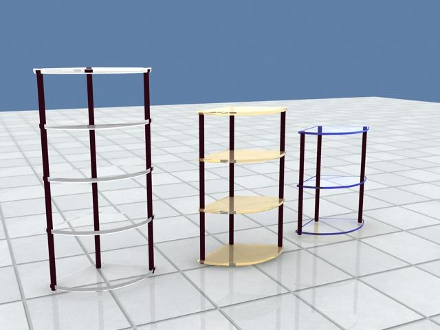 3d model shelf 6 materials different