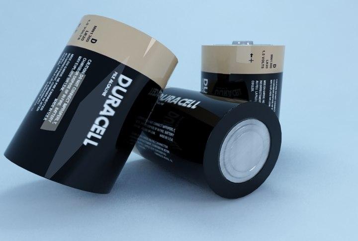 free duracell d battery 3d model
