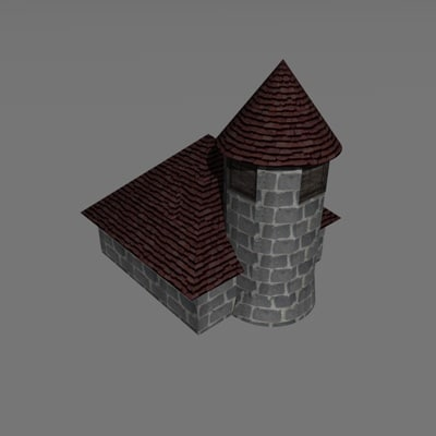 free c4d model small medieval church