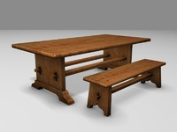 Medieval Bench and Trestle Table 3d model