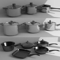 3d model set pots pans