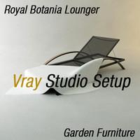 Garden Lounger Vray Studio Setup