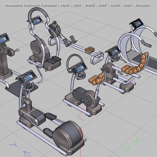 cardio gym equipment move! 3d model