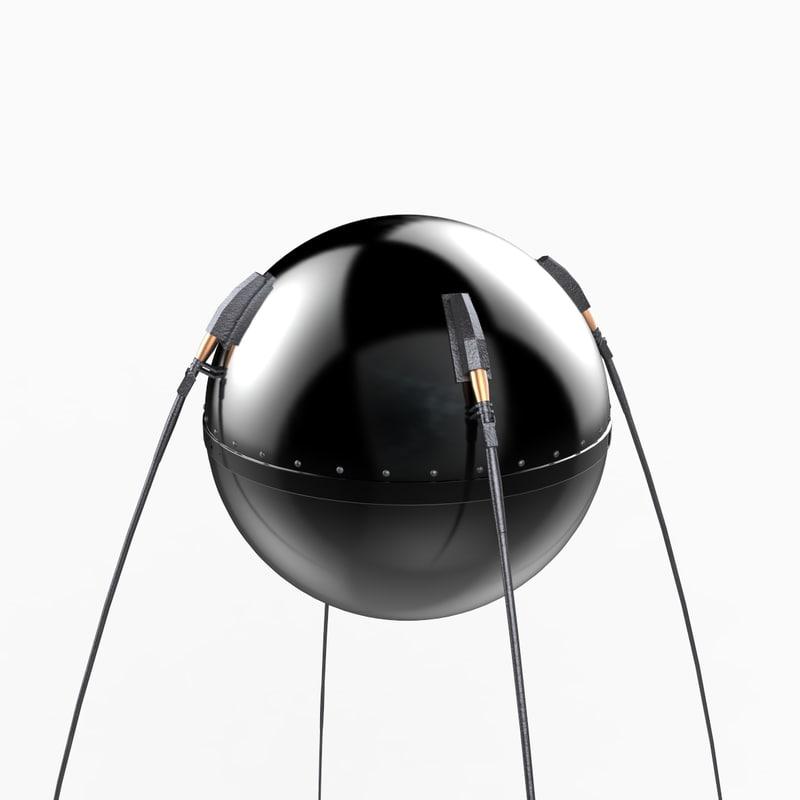 3d sputnik 1 satellite model