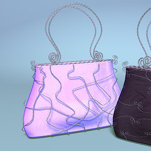3d handbags twisted wire handle model
