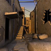 3d alley building