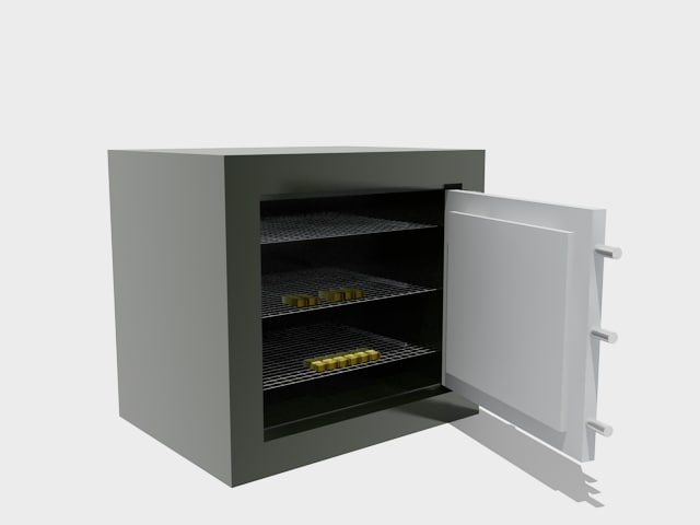 3d model of security vault gold