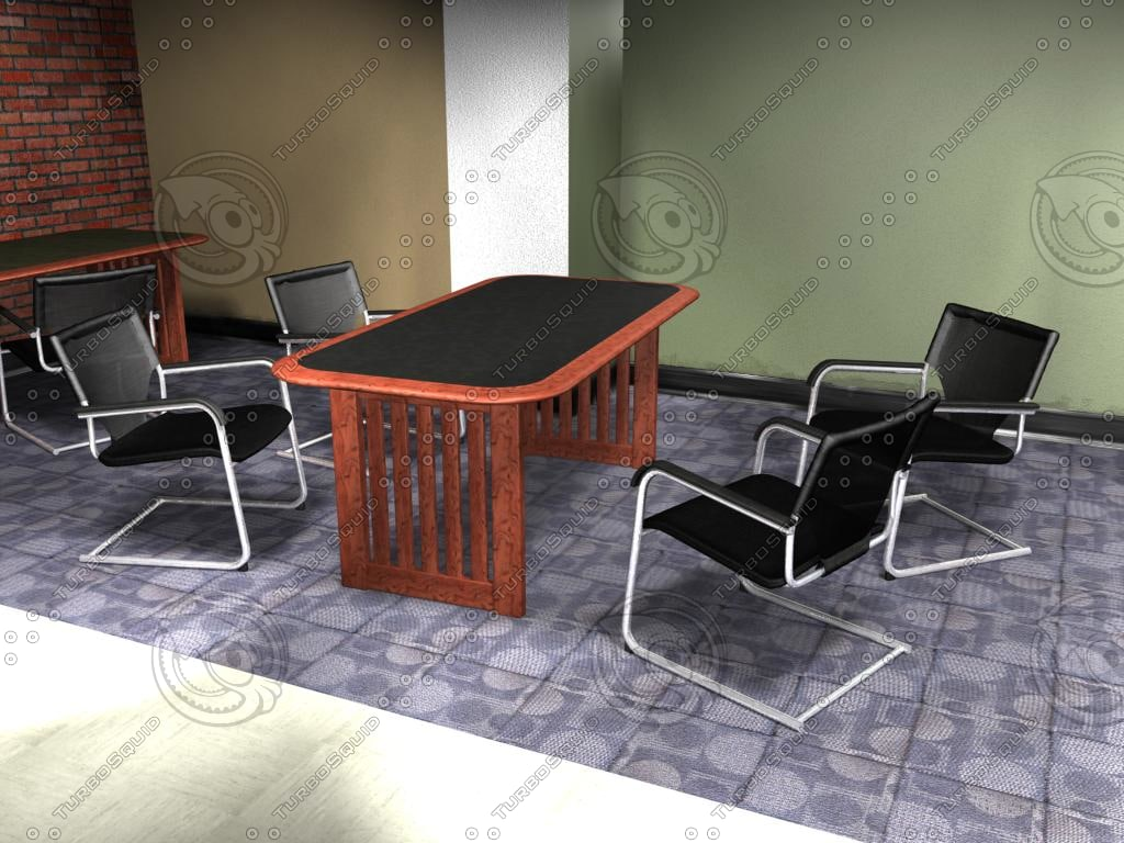 fabric metal chair table set 3ds