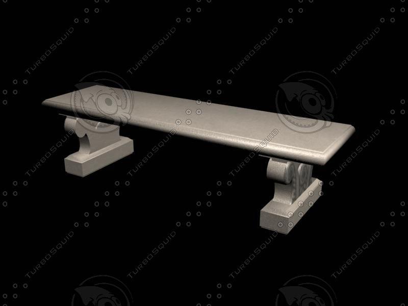 3ds concrete bench