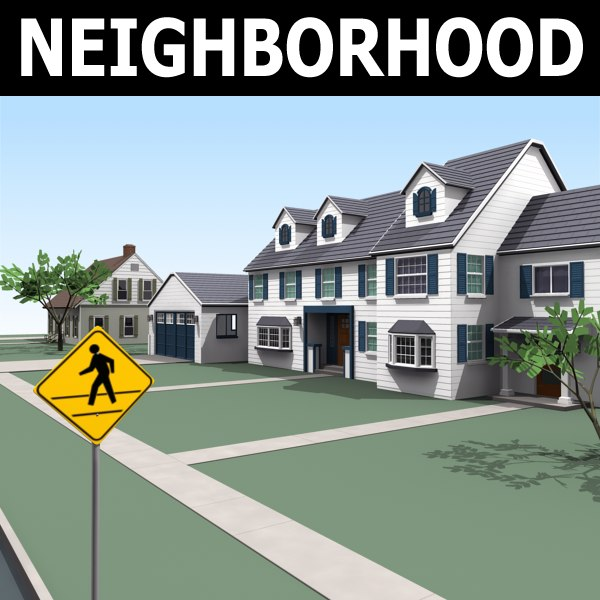 homes neighborhood construction 3d max