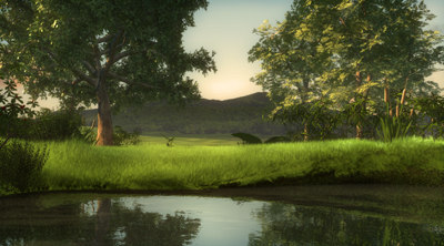 3d nature lake